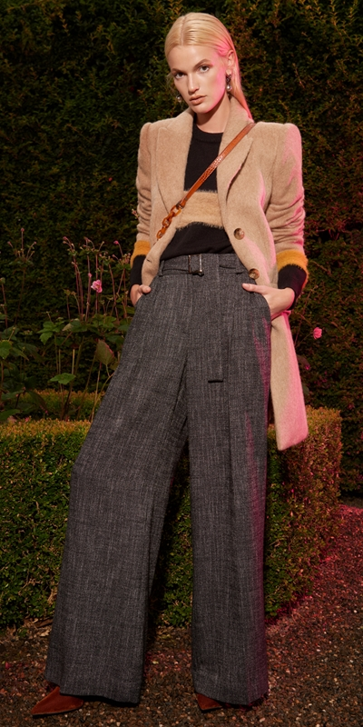 Pants | Brushed Tweed Belted Pant