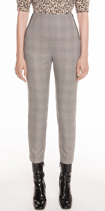 Pants  | Gold Plaid Cigarette Pant
