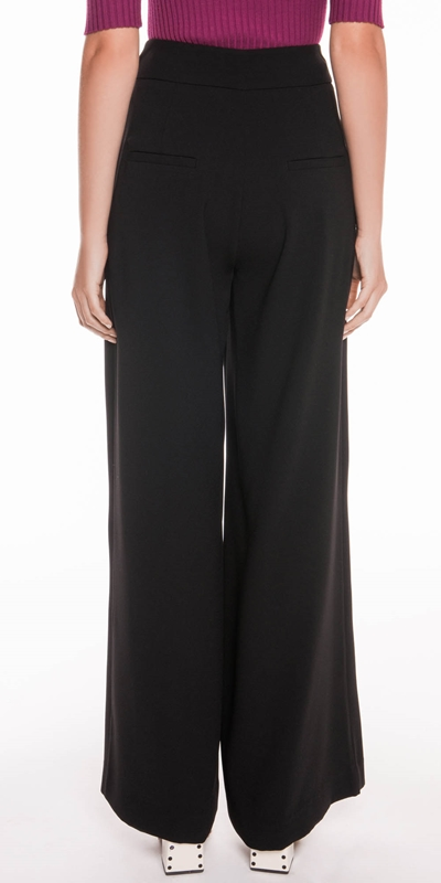 Pants | Satin Back Crepe High Waisted Pant
