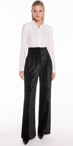 Pants | Crushed Velvet Front Tuck Pant
