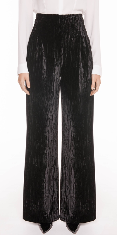 Pants | Crushed Velvet Front Tuck Pant