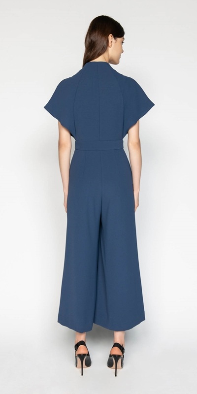Pants | Crepe Fluted Magyar Sleeve Jumpsuit