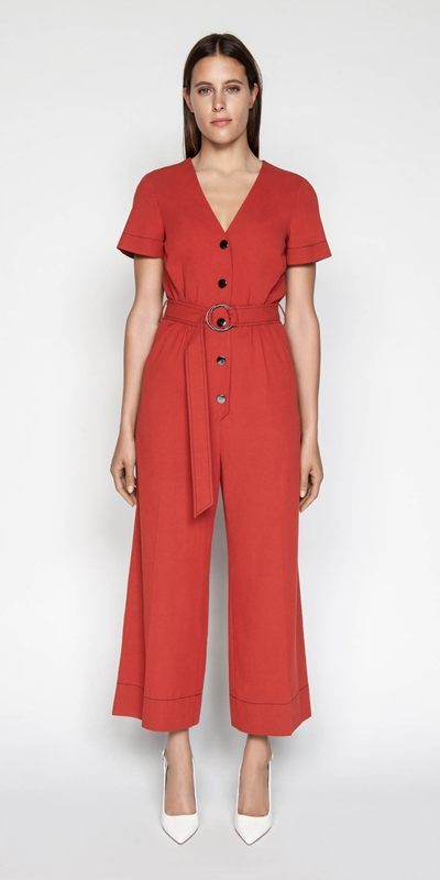 Jumpsuits | Linen Blend Belted Jumpsuit