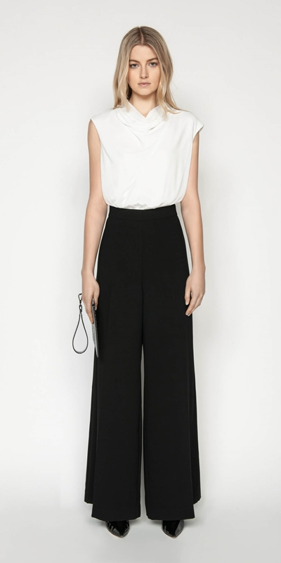 Pants | Monochrome Draped Neck Jumpsuit