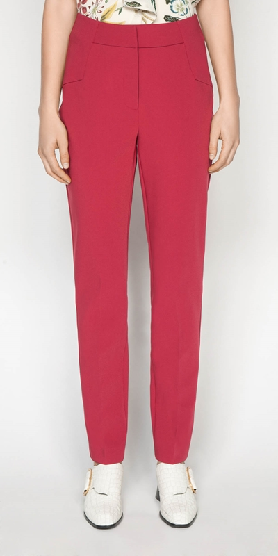 Pants | Berry Double Weave Slim Pant