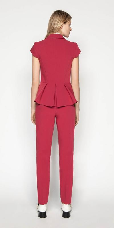 Pants | Berry Double Weave Slim Pant