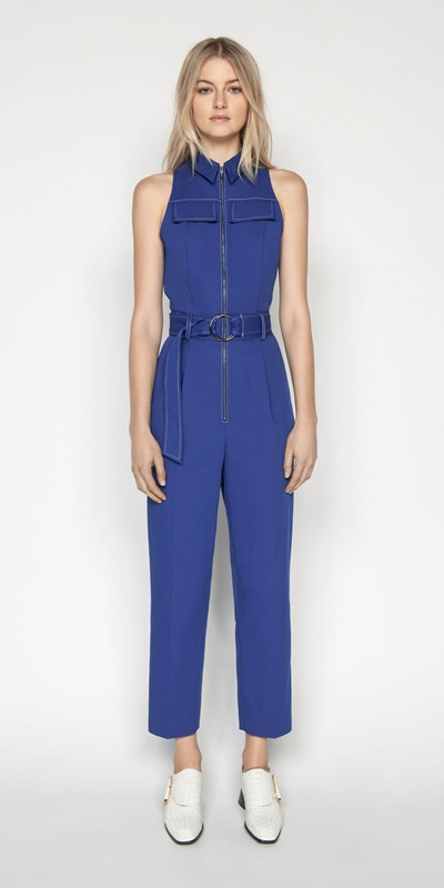 Pants | Cobalt Zip Front Jumpsuit