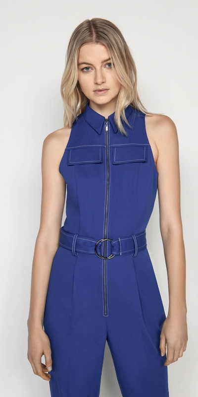 Made in Australia  | Cobalt Zip Front Jumpsuit