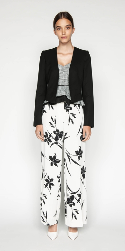 Pants | Monochrome Floral Wide Leg Pant