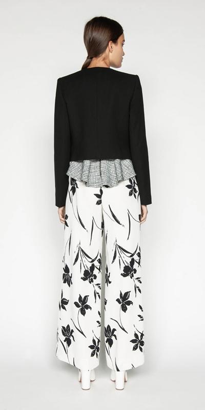 Pants | Monochrome Floral Wide Leg Pant
