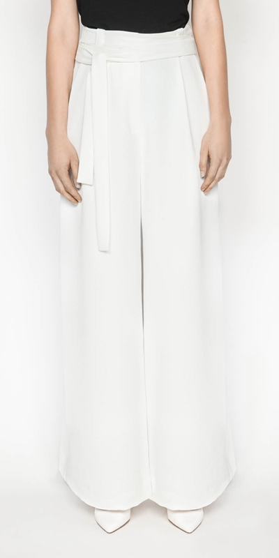 Wear to Work  | Belted Ivory Wide Leg Pant