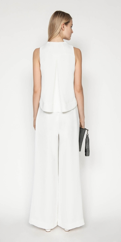Pants | Belted Ivory Wide Leg Pant