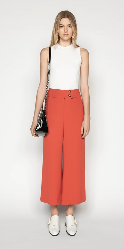 Sale | Crepe Cropped Wide Leg Pant