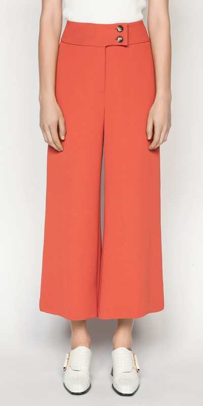 Pants  | Crepe Cropped Wide Leg Pant