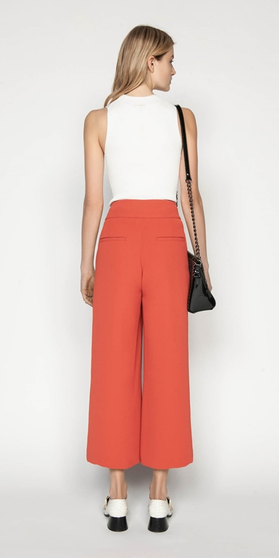 Pants | Crepe Cropped Wide Leg Pant