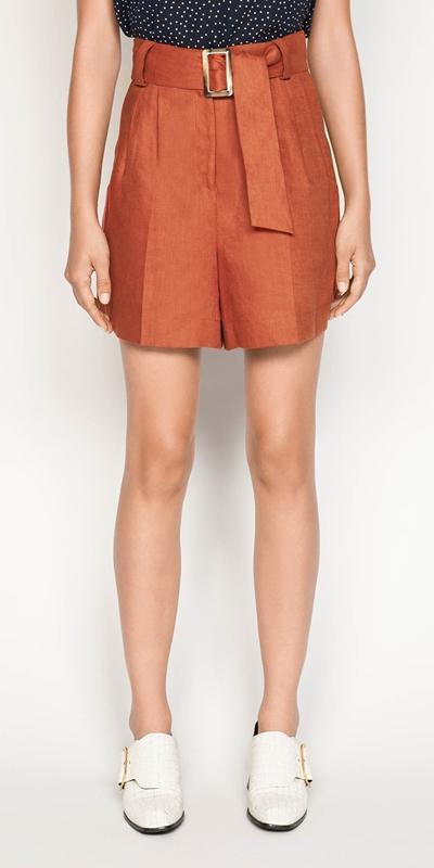 Pants  | Belted Linen Short