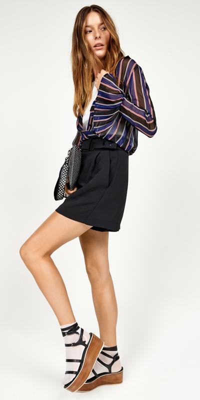 Pants | Crepe Belted Short