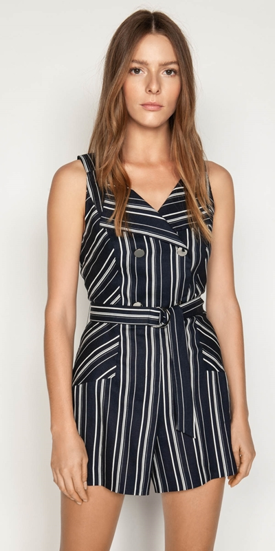 Jumpsuits  | Linen Stripe Playsuit