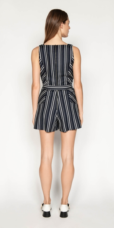 Pants | Linen Stripe Playsuit