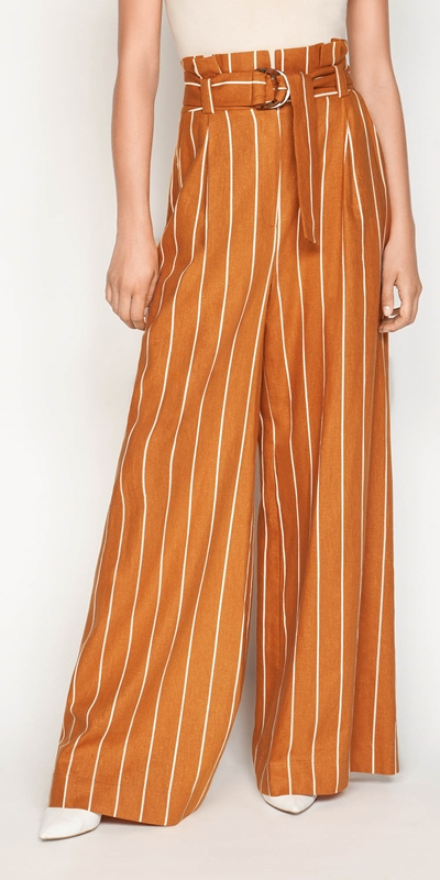 Sale  | Linen Stripe Wide Leg Pant