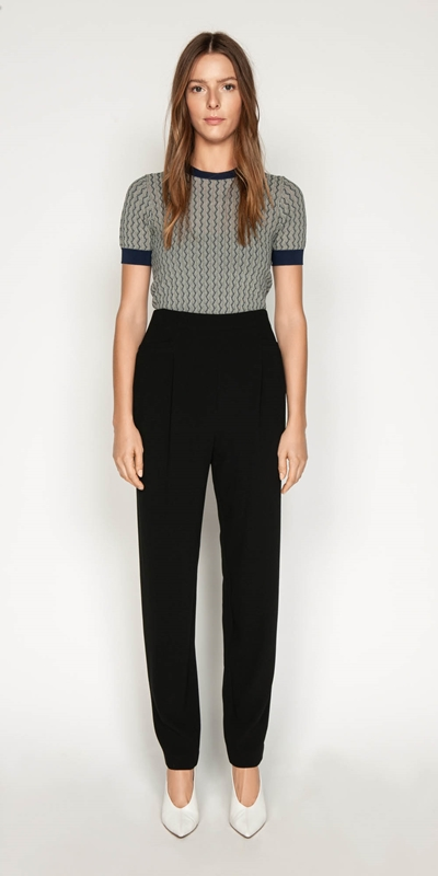 Pants | Crepe High Waisted Pant