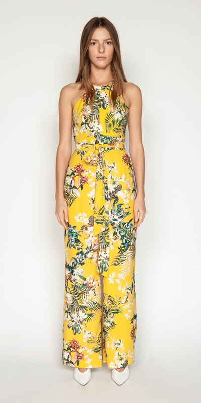 Sale | Tropical Halter Neck Jumpsuit