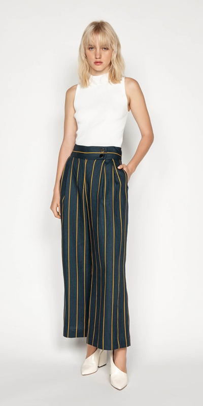 Pants | Linen Stripe Wide Leg Pant