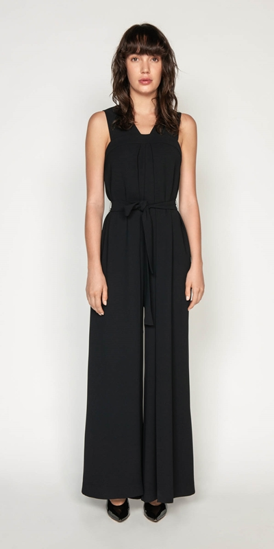 Pants | Crepe Inverted Box Pleat Jumpsuit