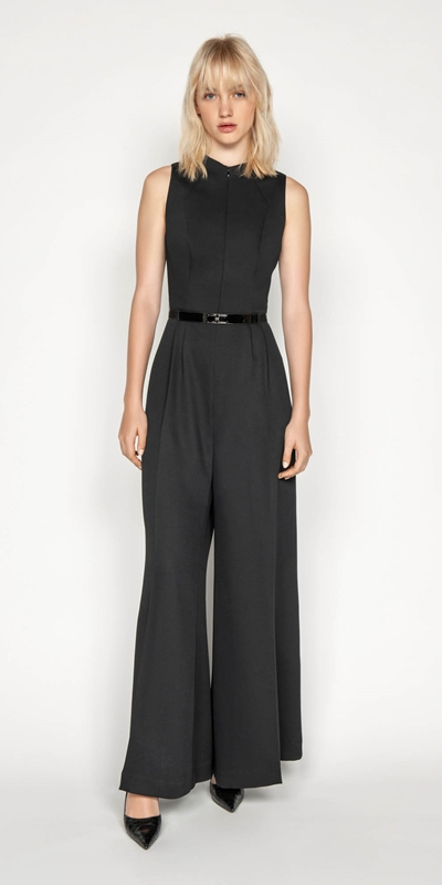 Jumpsuits | Belted Funnel Neck Jumpsuit