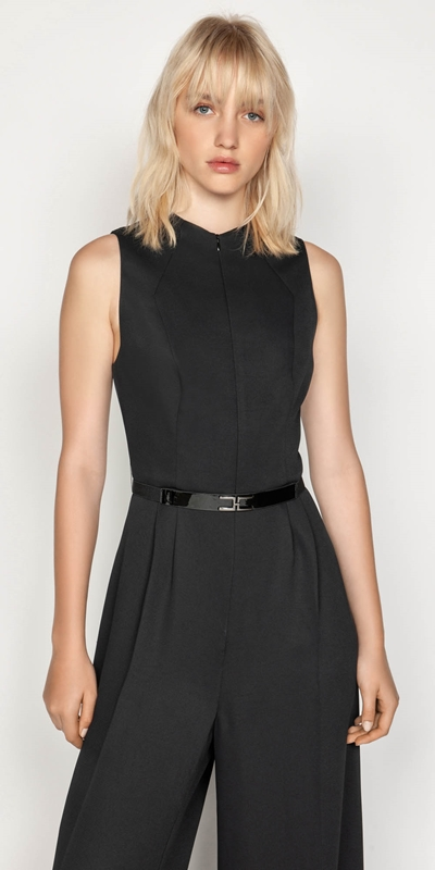 Sale  | Belted Funnel Neck Jumpsuit