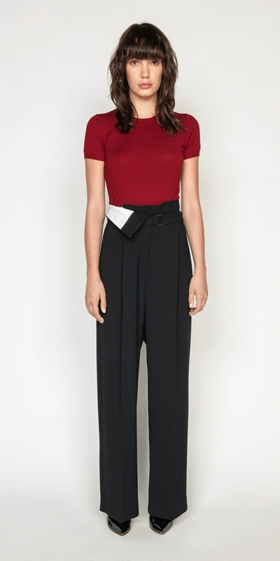 Sale | Crepe Spliced Belted Trouser