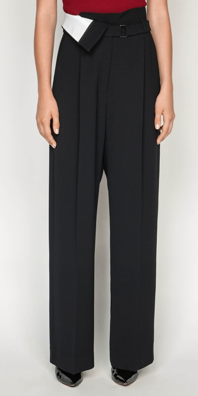 Pants | Crepe Spliced Belted Trouser