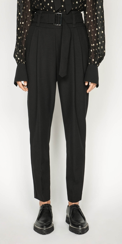 Pants | Belted Crepe Pant