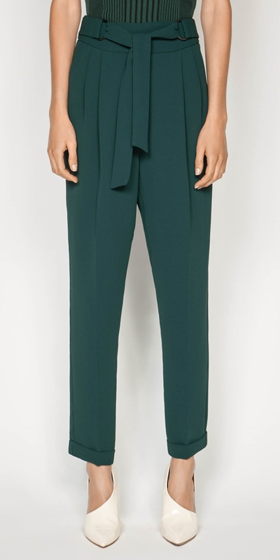 Wear to Work  | Crepe Belted Tapered Pant