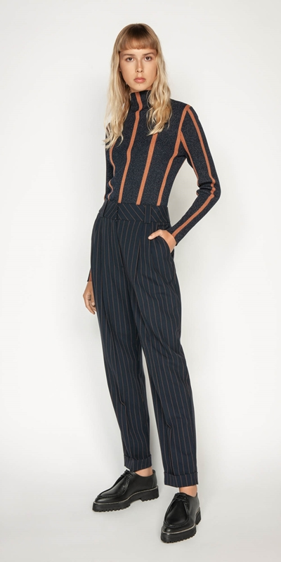 Work From Home | Camel Pinstripe Trouser