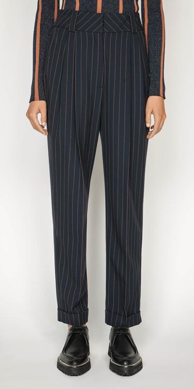 Pants | Camel Pinstripe Trouser
