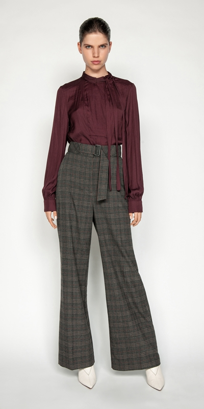Pants | Melange Check Wide Leg Pant