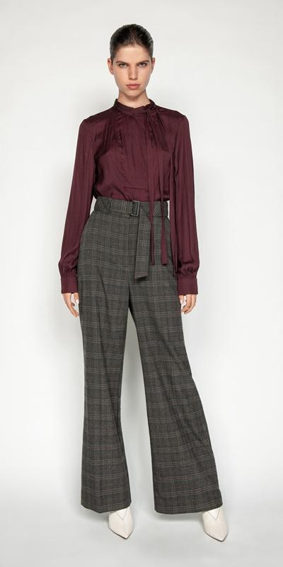 Sale | Melange Check Wide Leg Pant