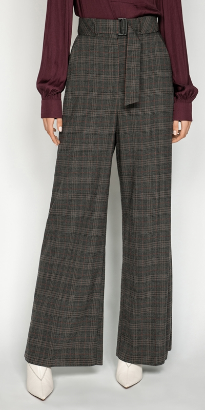 Pants | Melange Check Wide Leg Pant