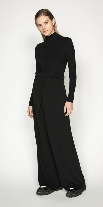 Work From Home | Tuck Front Wide Leg Pant