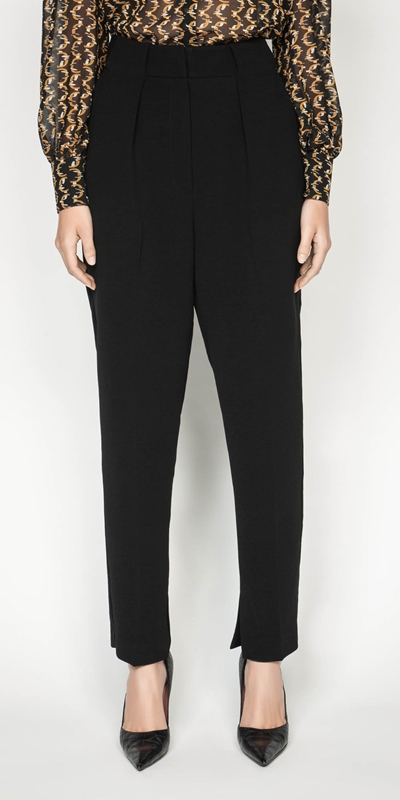 Work From Home  | Crepe Split Cuff Tapered Pant