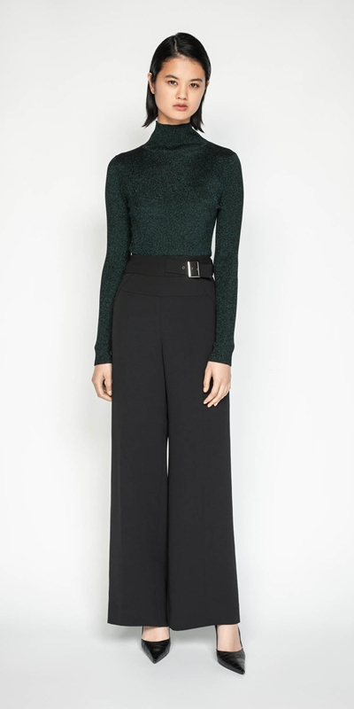 Pants | Crepe Buckled Wide Leg Pant