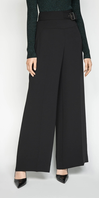 Sale  | Crepe Buckled Wide Leg Pant