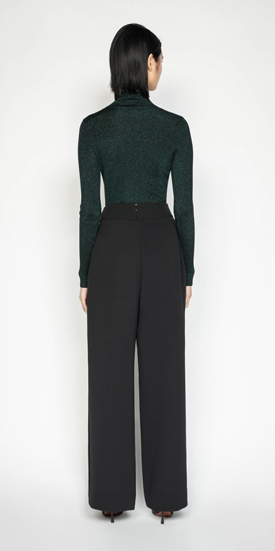Pants | Crepe Buckled Wide Leg Pant