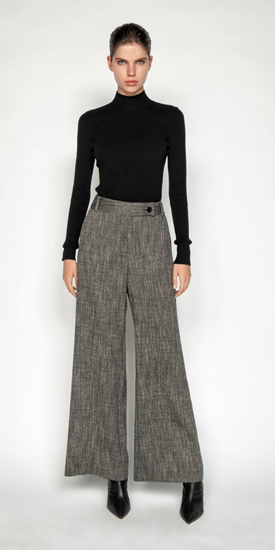 Pants | Melange Tweed Wide Leg Pant