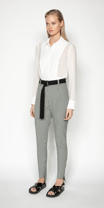 Pants | Gingham Stepped Hem Pant