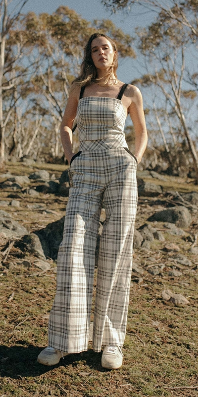 Pants  | Sand Check Wide Leg Pant
