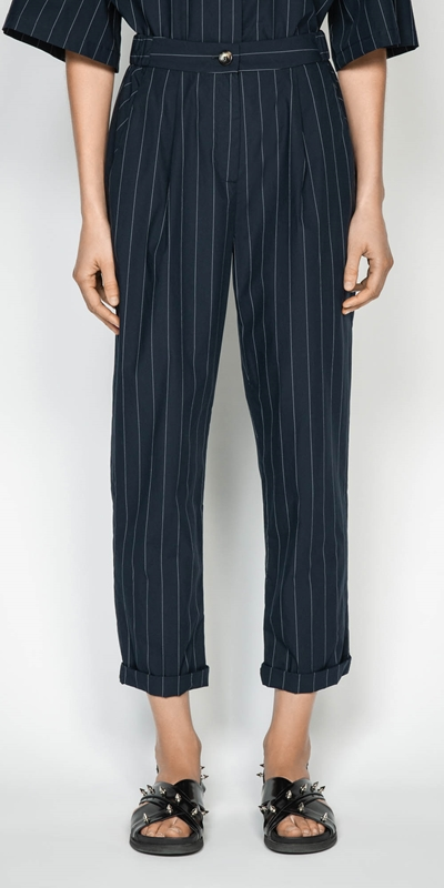 Pants | Cotton Pinstripe Elasticated Pant