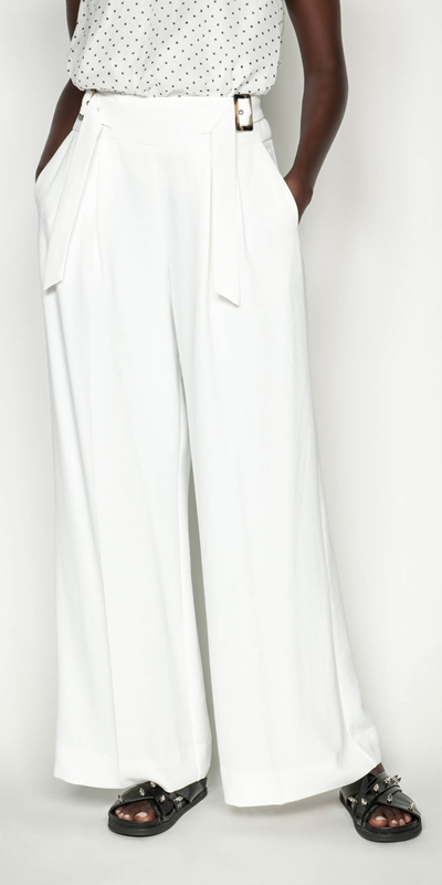 Pants  | Washer Crepe Belted Wide Leg Pant