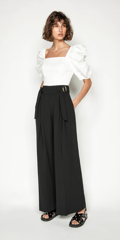 Wear to Work | Washer Crepe Belted Wide Leg Pant